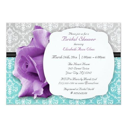 Purple Rose Teal Damask Bridal Shower Invitations