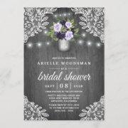 Purple Silver Gray Floral Rustic Bridal Shower Invitation