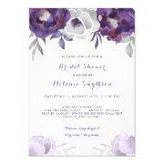 Purple Silver Watercolor Floral Bridal Shower 3963