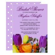 Purple Tulip Bouquet Bridal Shower Invitations