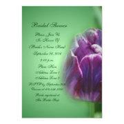 Purple Tulip Flower Bridal Shower Invitation