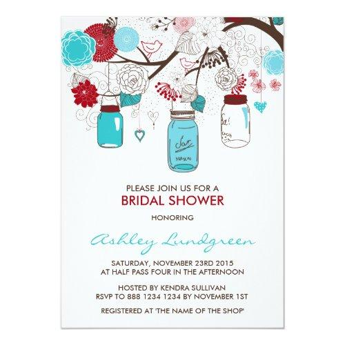 Red And Blue Mason Jars Bridal Shower Invitation
