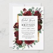 Red And Gold Floral Rustic Elegant Bridal Shower Invitation
