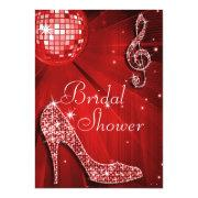 Red Disco Ball and Sparkle Heels Bridal Shower Custom Invitations