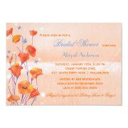 Red Poppy Salmon Colored Bridal Shower Invitation