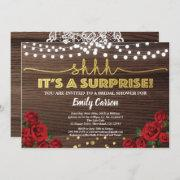 Red Rose Surprise Bridal Shower Invitation