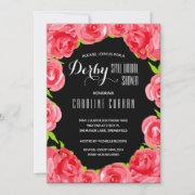 Red Roses Derby Bridal Shower Party Invitations