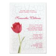 Red Tulip on Crackle Paint Bridal Shower Custom Announcement