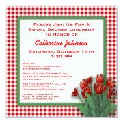 Red Tulips Gingham Checked Bridal Shower Luncheon
