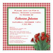 Red Tulips Gingham Checked Bridal Shower Luncheon Invitations