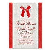Red Vintage Bow & Linen Bridal Shower Invitations Personalized Announcements