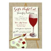 Red Wine And Painting Art Party Invitations