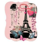 Retro Pink Paris Eiffel Tower Bridal Tea Party