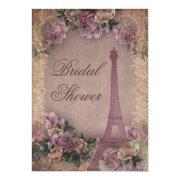 Romantic Paris Vintage Roses Lace Bridal Shower