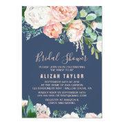 Romantic Peony Flowers | Blue Bridal Shower Invitation