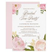Romantic Pink Watercolor Flowers Bridal Tea Party