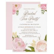 Romantic Pink Watercolor Flowers Bridal Tea Party Invitations