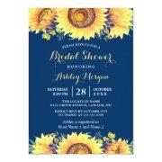 Romantic Sunflowers Rustic Navy Blue Bridal Shower Invitation