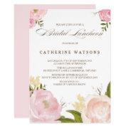 Romantic Watercolor Flowers Bridal Luncheon Invite