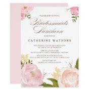 Romantic Watercolor Flowers Bridesmaids Luncheon