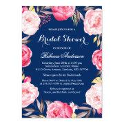 Rose Floral Wreath Navy Blue Bridal Shower