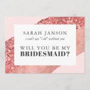 Rose Gold, Blush & Sequin Bridesmaid Invitation