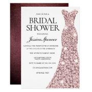 Rose Gold & Burgundy Velvet Bridal Shower Invite