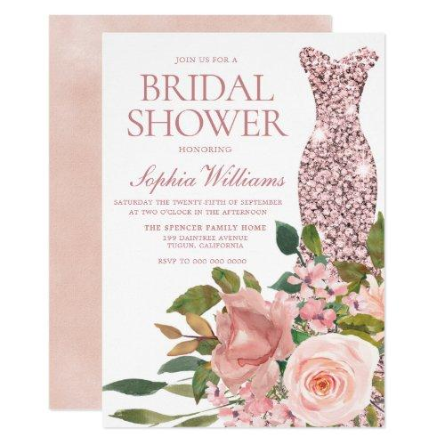 Rose Gold Dress & Blush Pink Flowers Bridal Shower Invitation