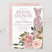Rose Gold Dress & Blush Pink Flowers Bridal Shower Invitation