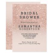 Rose Gold Faux Glitter Pink Bridal Shower Invitations
