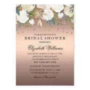 Rose Gold Floral Glitter Sparkling Bridal Shower