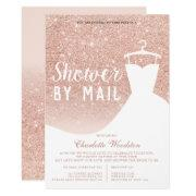 Rose Gold Glitter Dress Bridal Shower By Mail Invitation