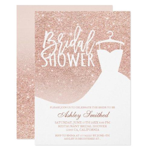 Rose Gold Glitter Elegant Chic Dress Bridal Shower Invitations