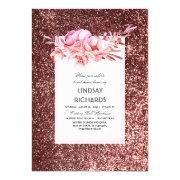 Rose Gold Glitter Vintage Floral Bridal Shower