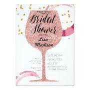 rose gold wine bridal shower invitations