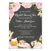 Rose & Teacup Chalkboard Bridal Shower Invite