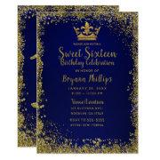 Royal Blue & Gold Glitter Crown Sweet 16 Party