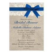Royal Blue Lace Burlap Bridal Shower Invitation