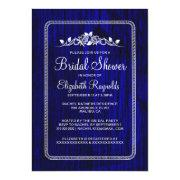 Royal Blue Vintage Barn Wood Bridal Shower Invites Custom Invites