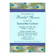 Royal Teal Blue Peacock Bridal Shower Invitation