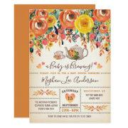 Rustic Bridal Shower Tea Party Autumn Fall Flowers Invitation