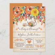 Rustic Bridal Shower Tea Party Autumn Fall Flowers Invitation