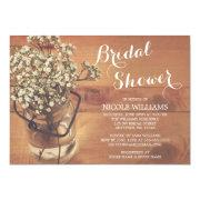 Rustic Bridal's Breath Mason Jar Wood Bridal Shower