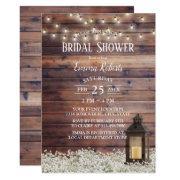 Rustic Barn Lantern String Lights Bridal Shower Invitations