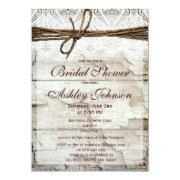 Rustic Barn Wood Lace Bridal Shower Invitations Personalized Invitation