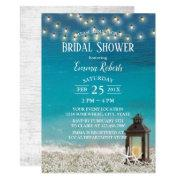 Rustic Beach Lantern String Lights Bridal Shower Invitation
