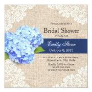 Rustic Blue Hydrangea Lace & Burlap Bridal Shower