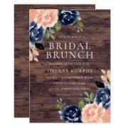Rustic Blush Navy Blue Floral Bridal Shower Brunch Invitation