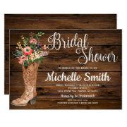 Rustic Boot Country Bridal Western Bridal Shower Invitation