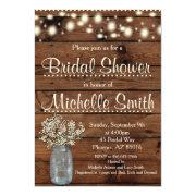 Rustic Bridal Shower Invitation, Mason Jar, Floral